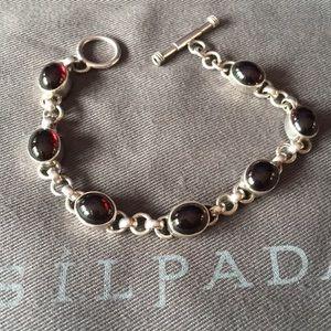 RARE  Silpada SS Red Garnet Link Bracelet